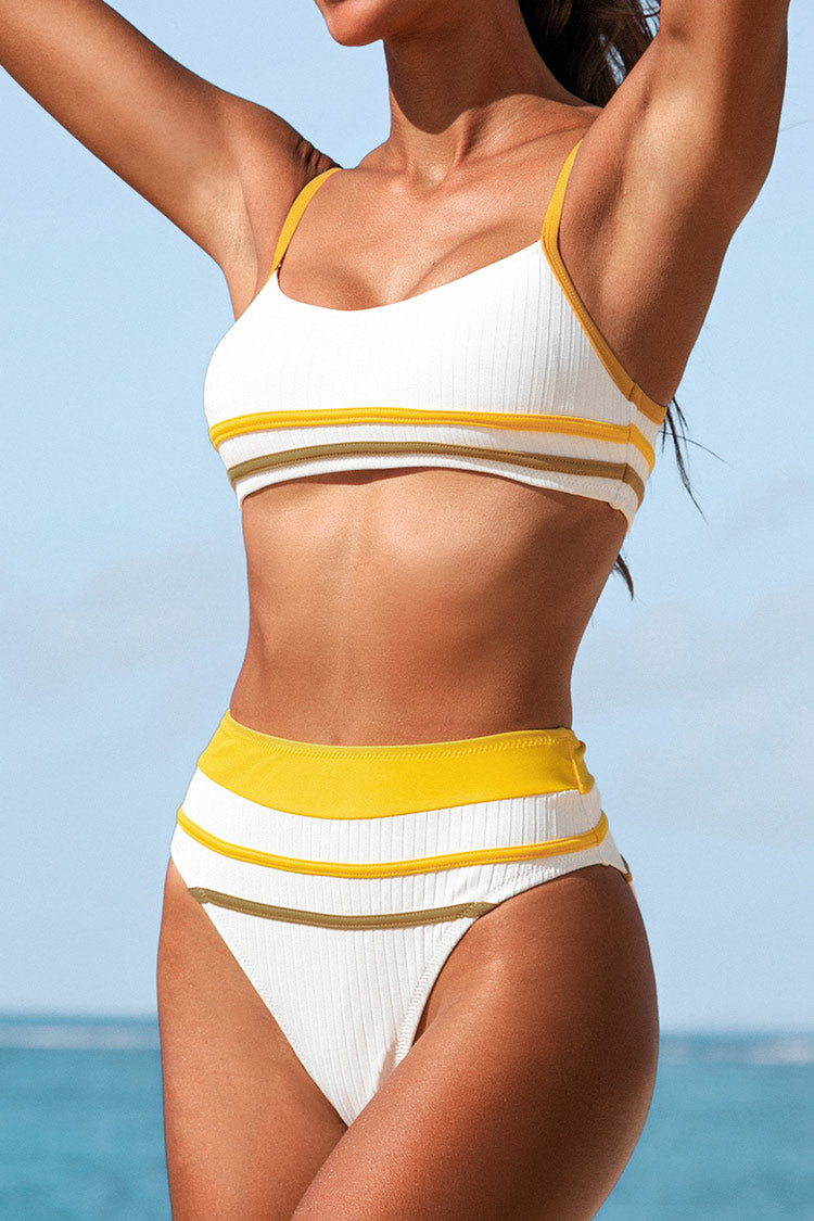 White and Yellow Striped Tank Bikini
