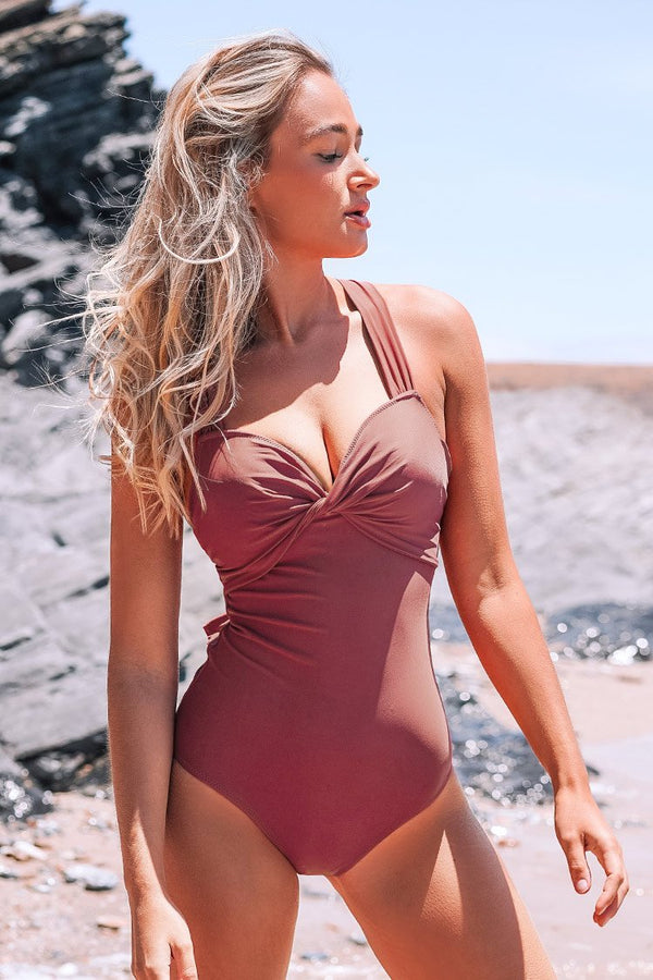 Coral Twist and Cross One-Piece Swimsuit