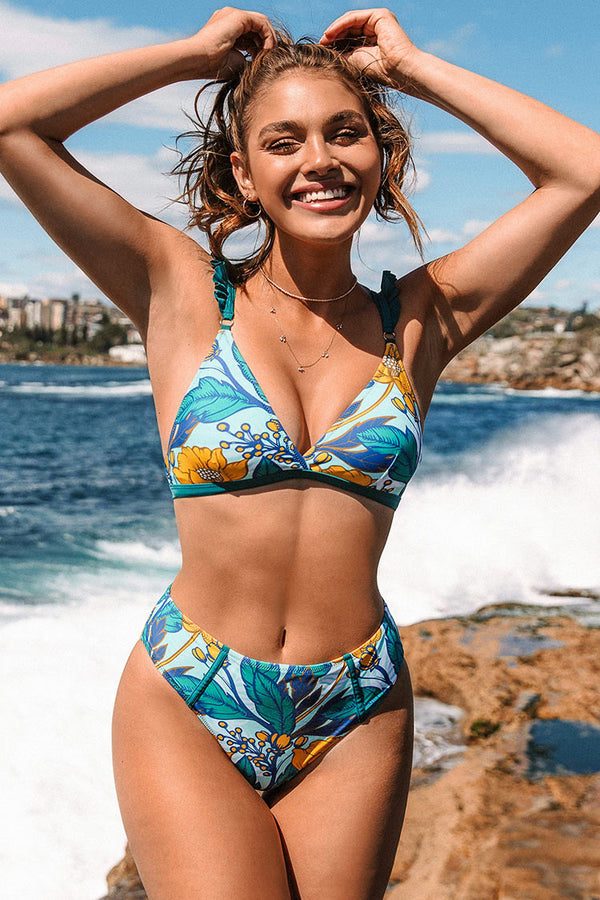 Floral and Leafy Print Bikini Bottom
