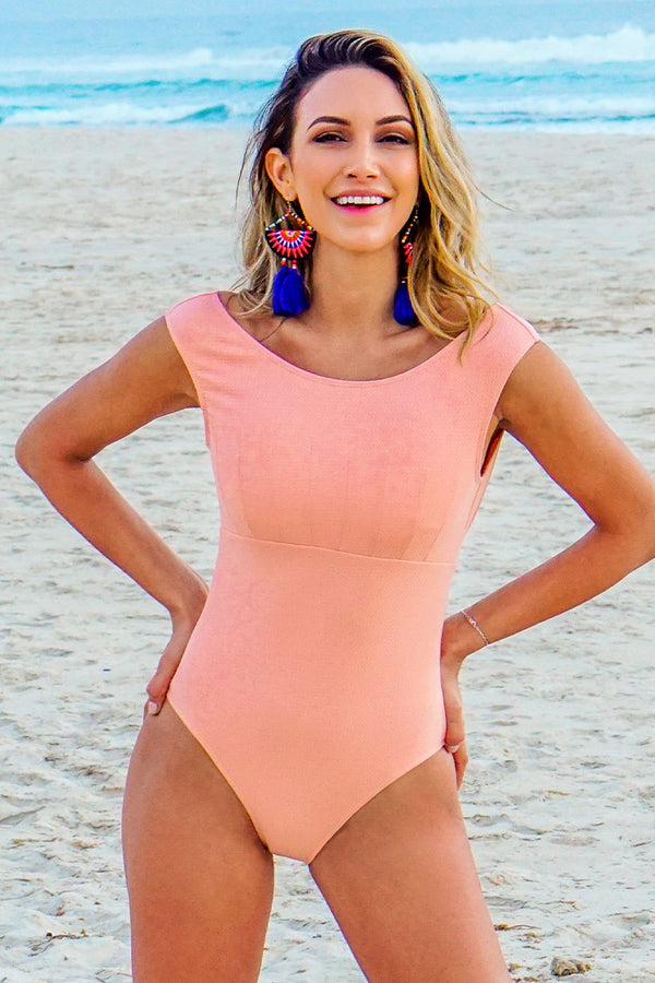 Coral Pink Seashell One-Piece Swimsuit