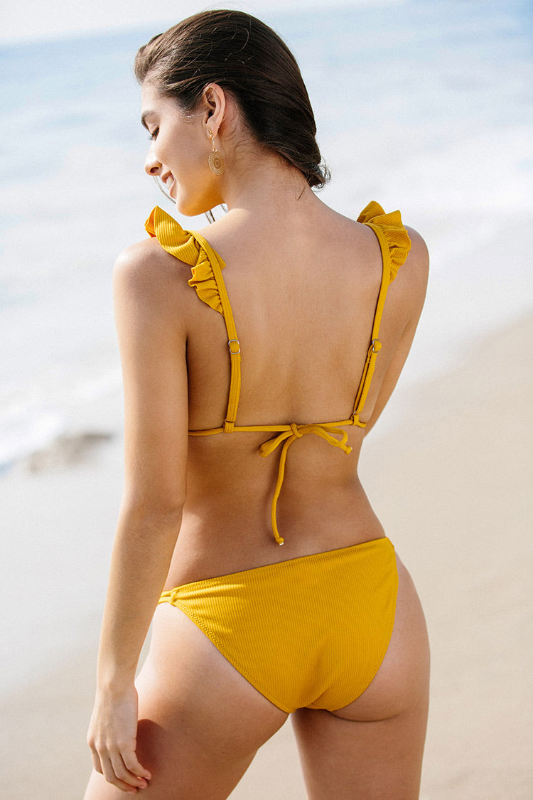 Yellow Ruffled Triangle Bikini