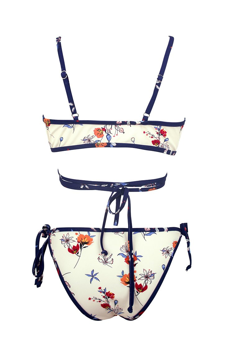 Ivory and Navy Floral Print Wrap Bikini