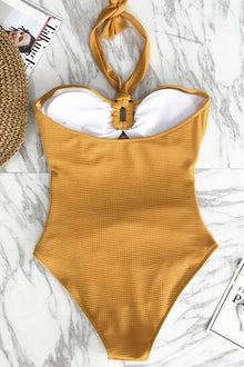 Bubbly Face Halter One-piece Swimsuit