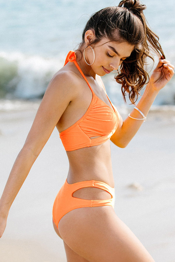 Neon Orange Wrap Front Bikini