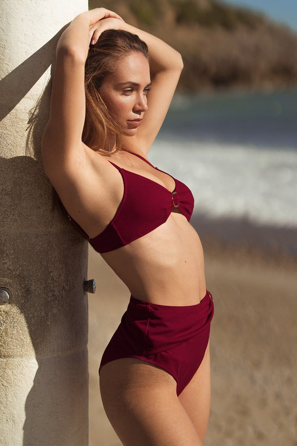 Deep Red High-Waisted Bikini