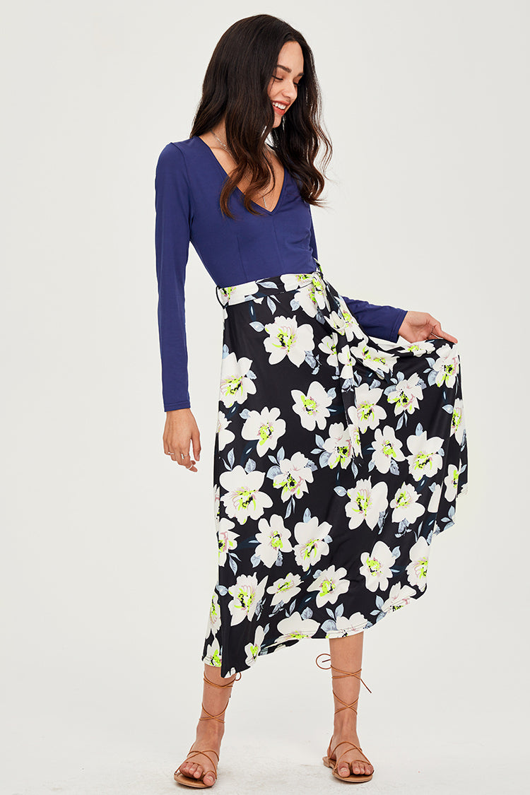 Blue and Floral Print Midi Dress