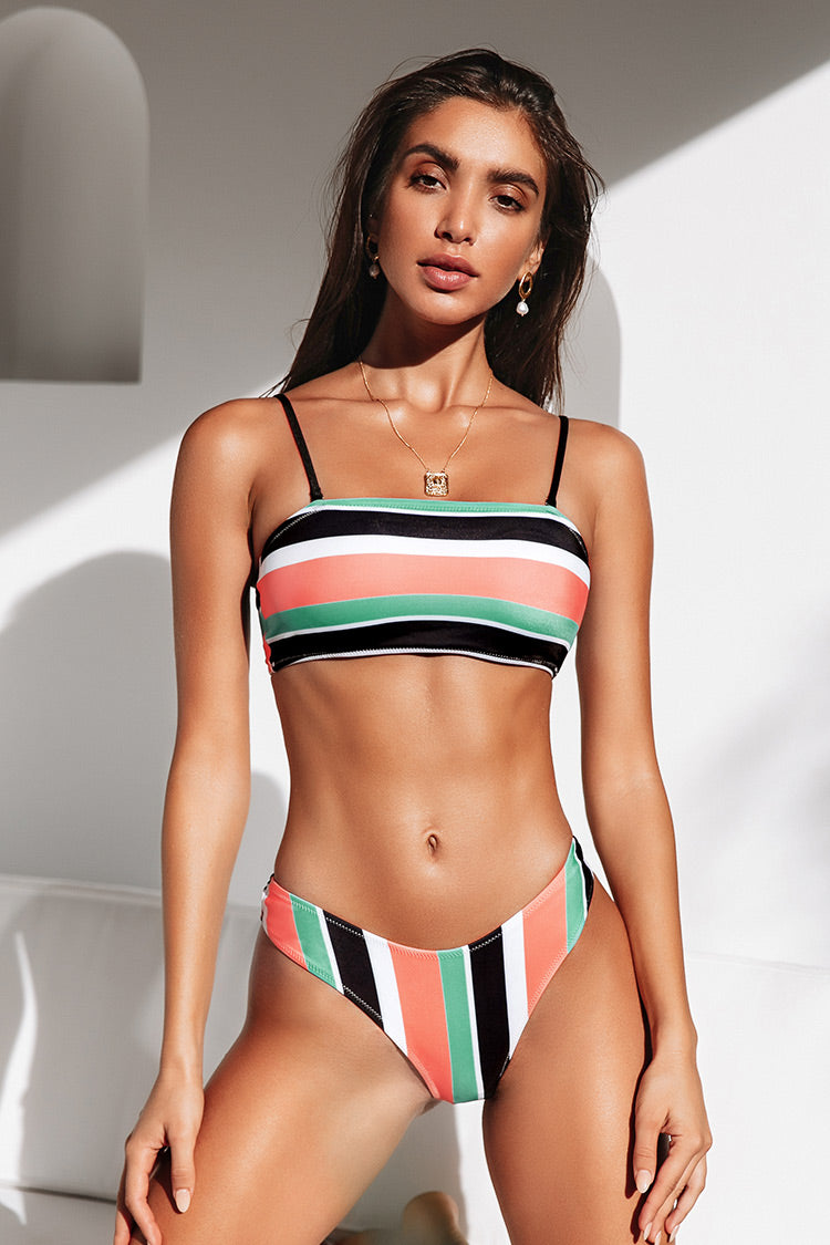 Colorful Striped Bandeau High Leg Bikini
