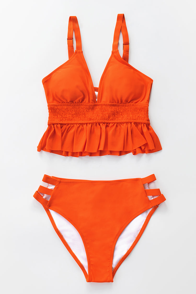 Orange Smocked Ruffle Bikini