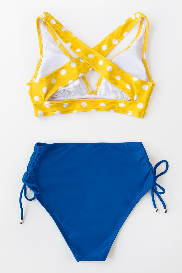 Blue Side Ruched High-Waisted Bikini Bottom