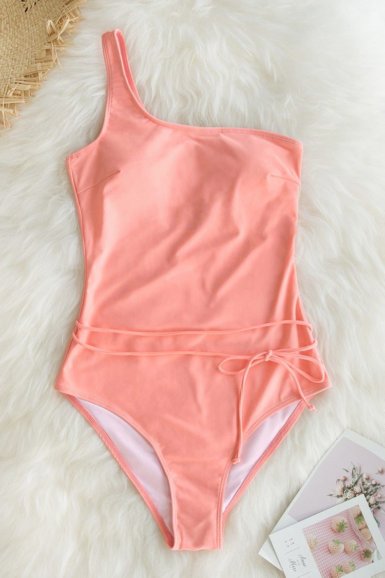 Pink One Shoulder One Piece Swimsuit