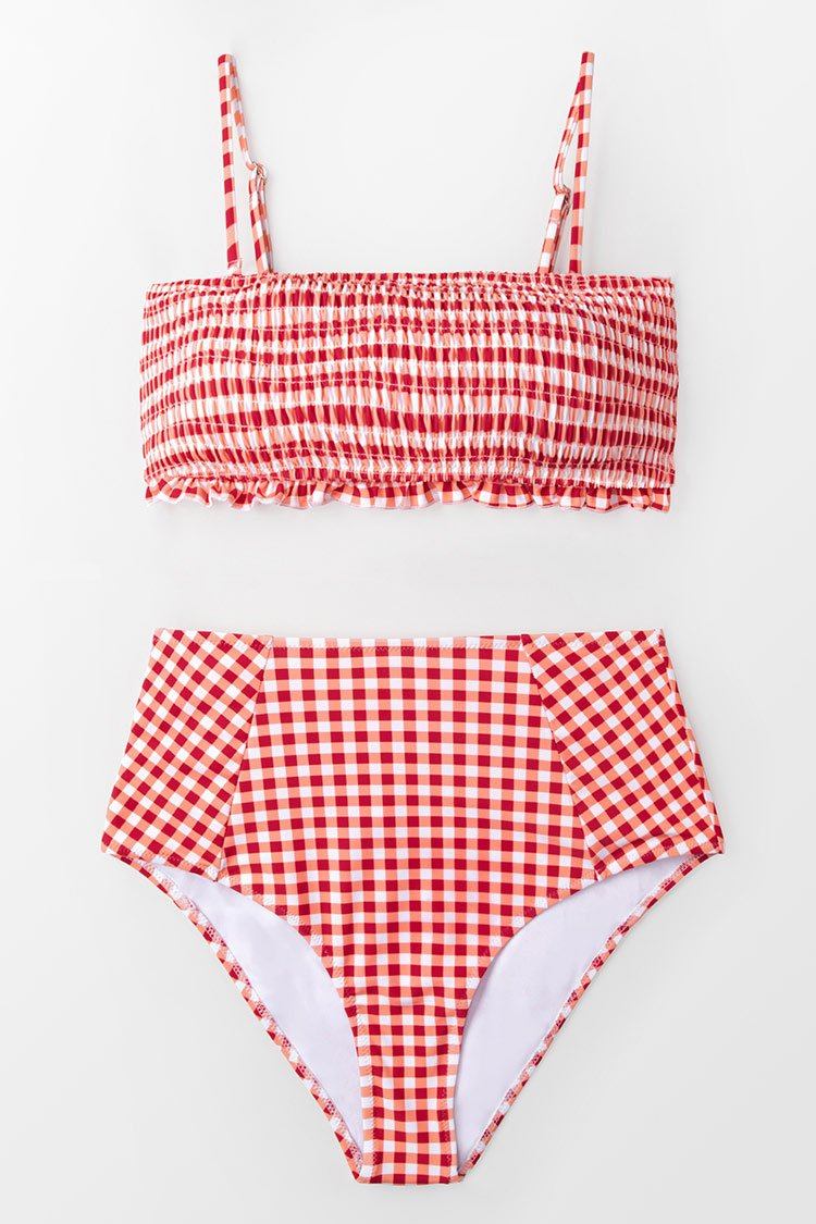 Red Gingham Smocked Bikini