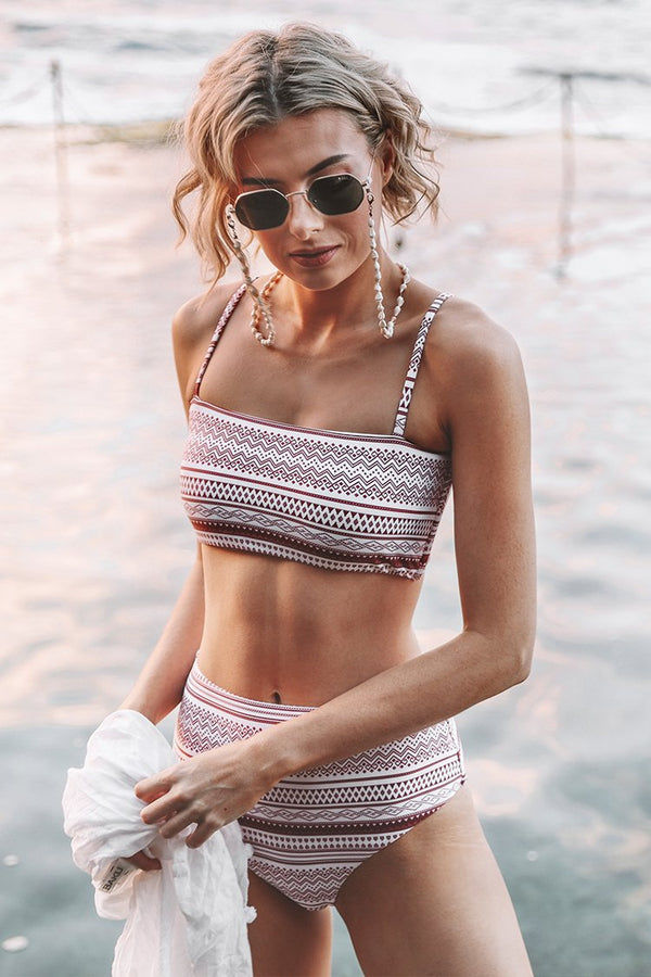 Burgundy Boho Print High-waisted Bikini