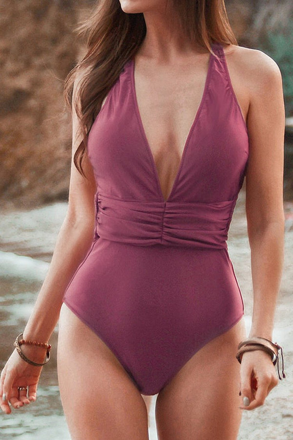 Red Deep Plunge Neck One Piece Swimsuit
