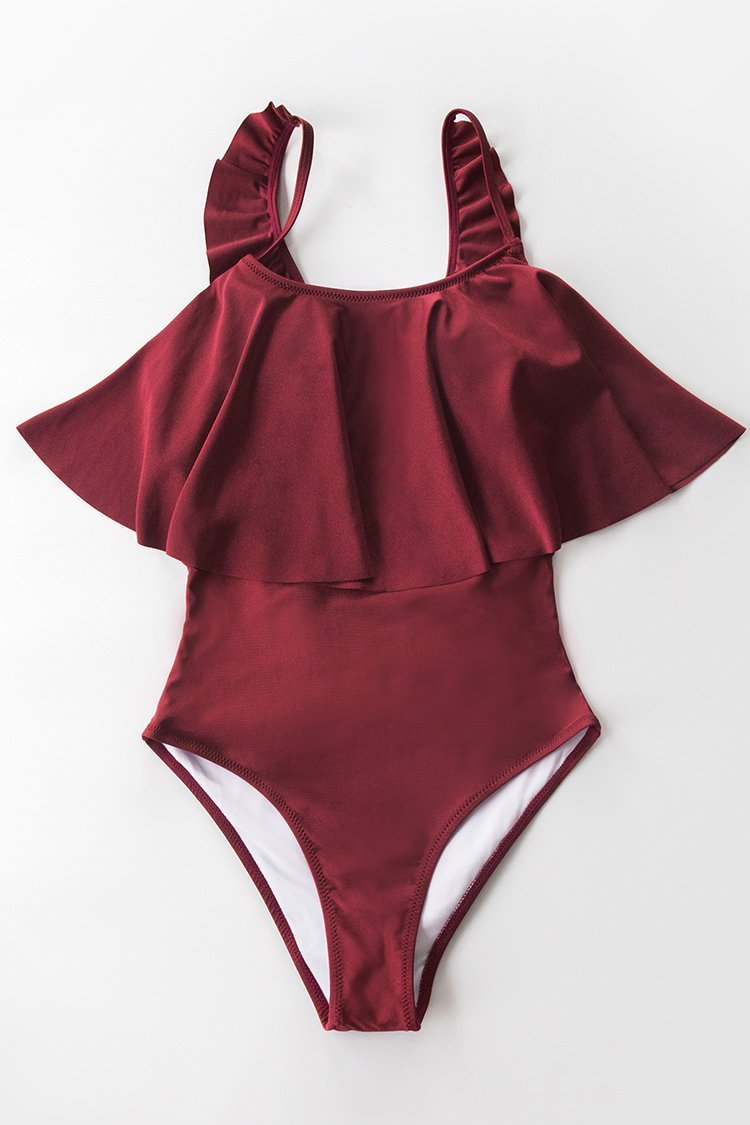 Red Shimmer Flounce One-Piece Swimsuit