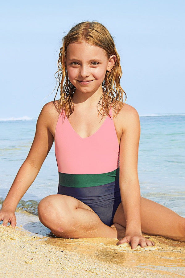 Color Block One-Piece Swimsuit for Toddler Girls and Girls
