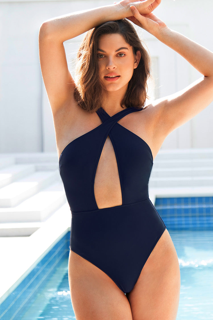 Navy Crisscross One Piece Swimsuit