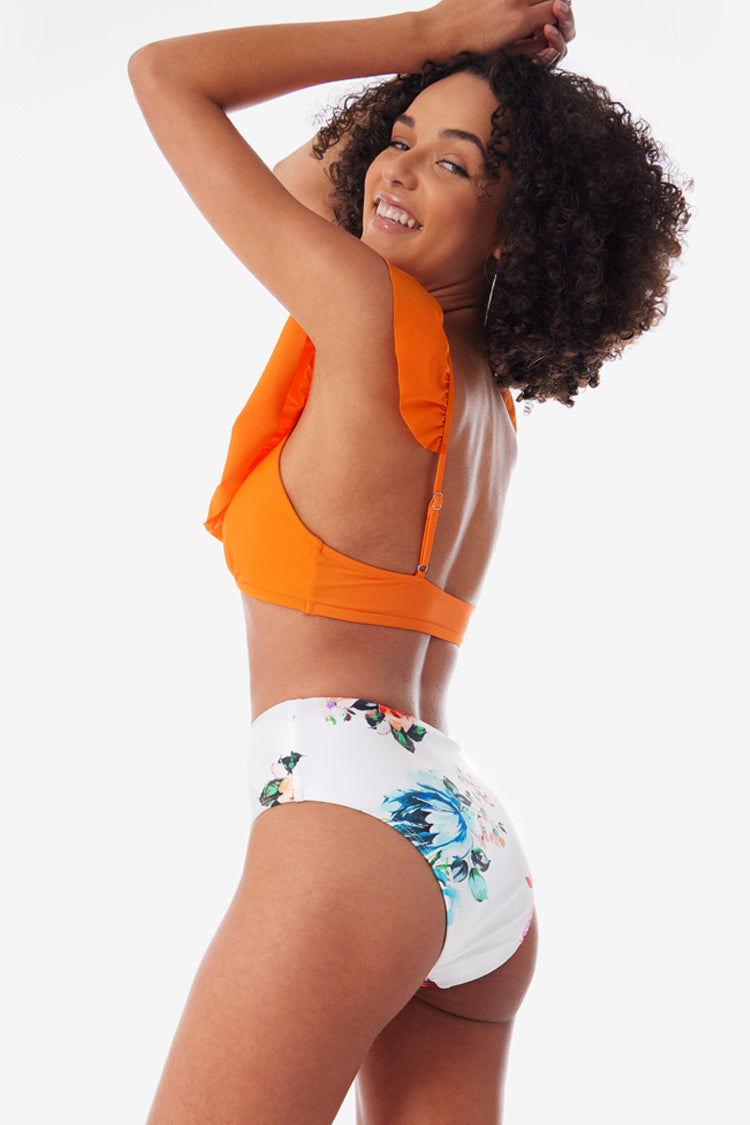 Orange Ruffle Cutout High Waisted Bikini