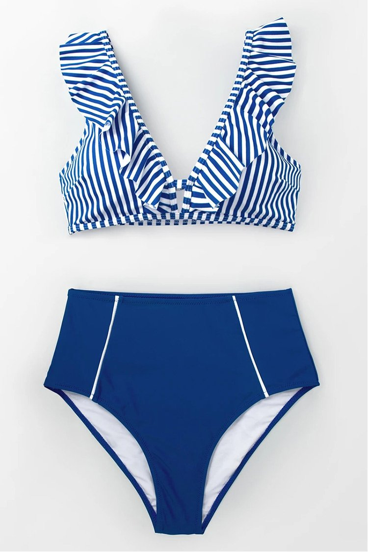 Blue Striped And High Waisted Bikini