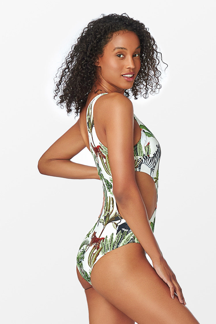 Animal Safari Cutout One Piece Swimsuit