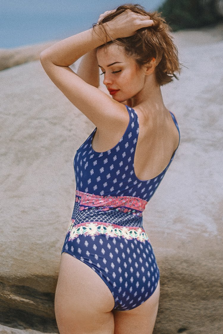Blue Print Knotted Scoopneck Cutout One-Piece Swimsuit