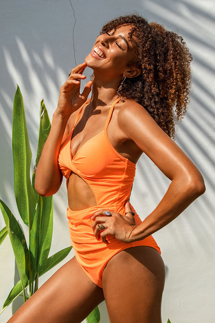 Neon Orange Twist Cutout One Piece Swimsuit