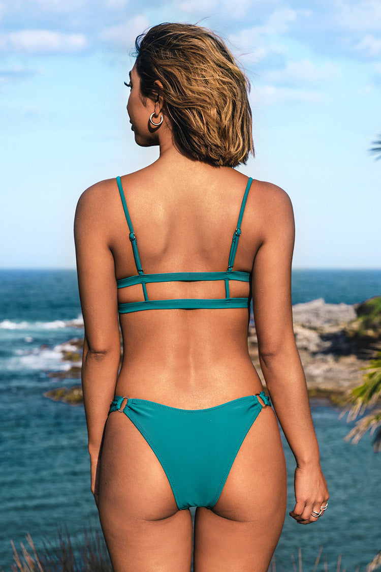 Teal O-Rings High Leg Bikini Bottom
