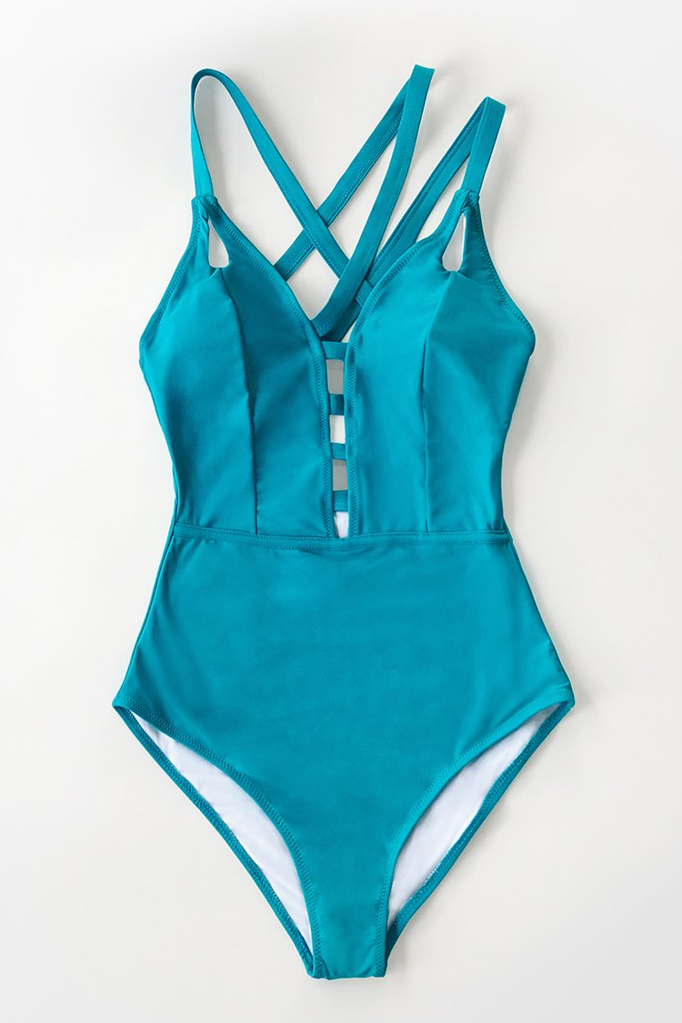 Teal Criss Cross Strappy One-Piece Swimsuit