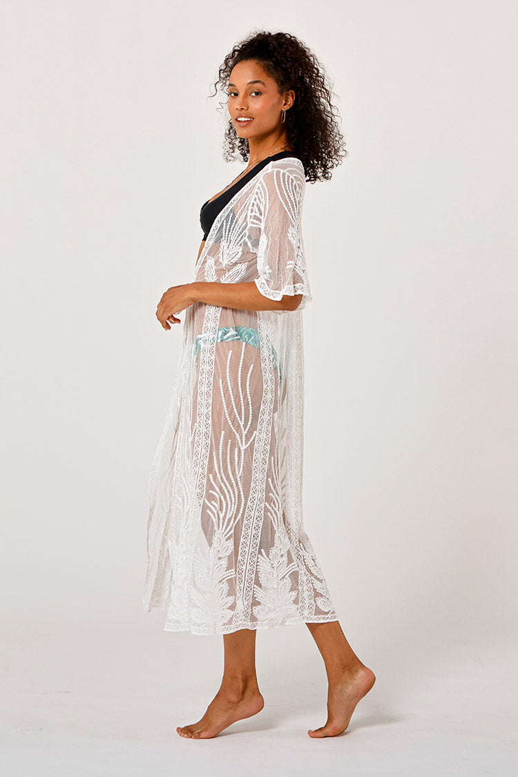 White Embroidery Kimono Cover Up