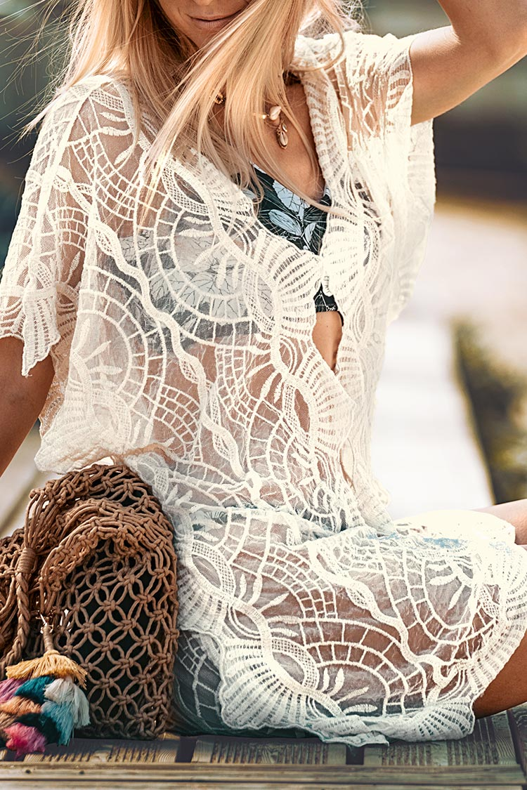 White Cut-Out Scallop Cover Up