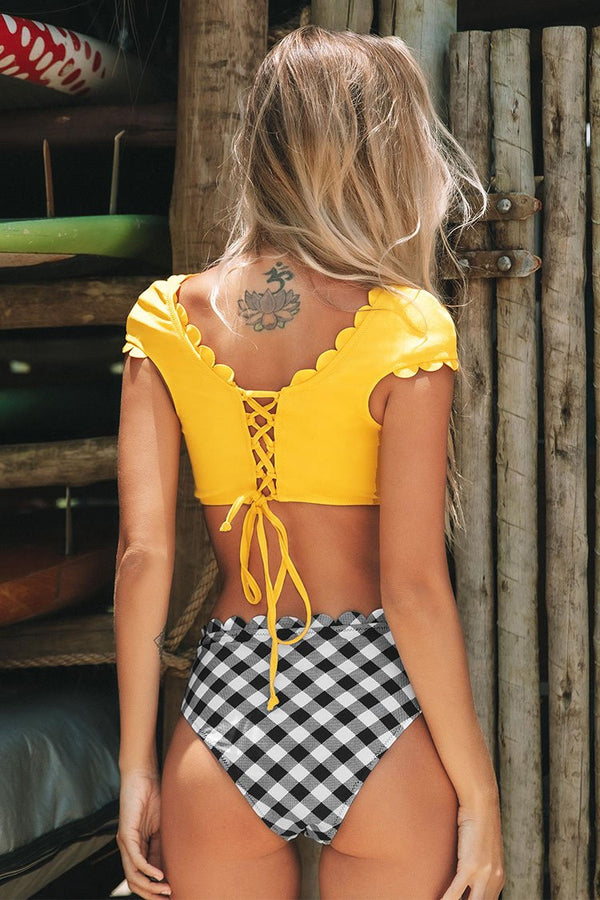 Yellow Scalloped Capped Sleeve and Gingham Bikini