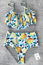 Cupshe Summer Lemon Falbala Bikini Set