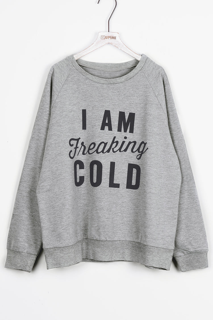 Gray I AM FREAKING COLD Top