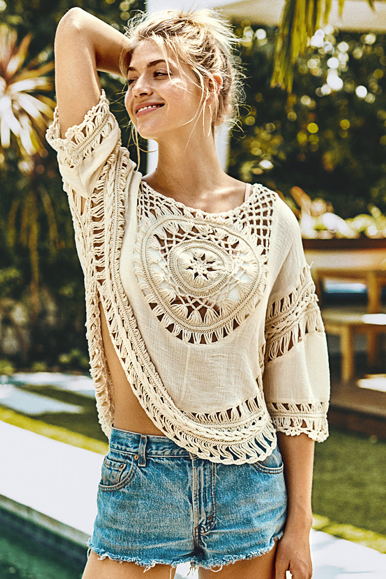 Ivory Crochet Round Trim Cover Up
