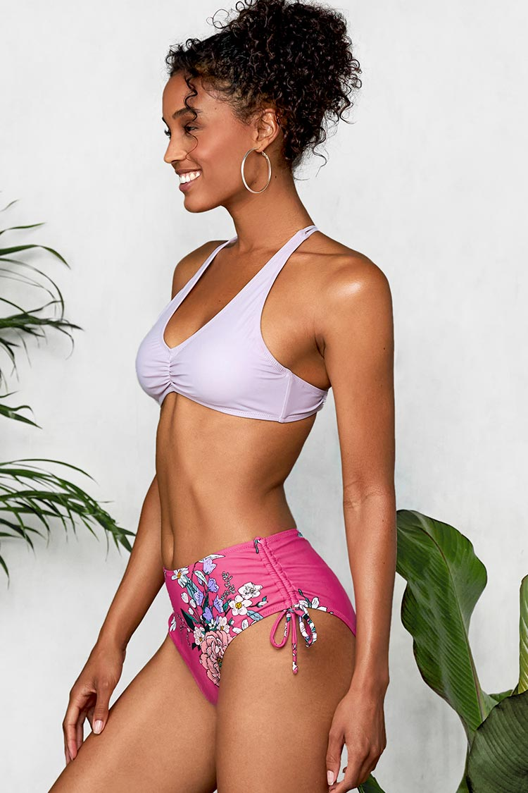 Light Purple and Floral Braided Back Bikini