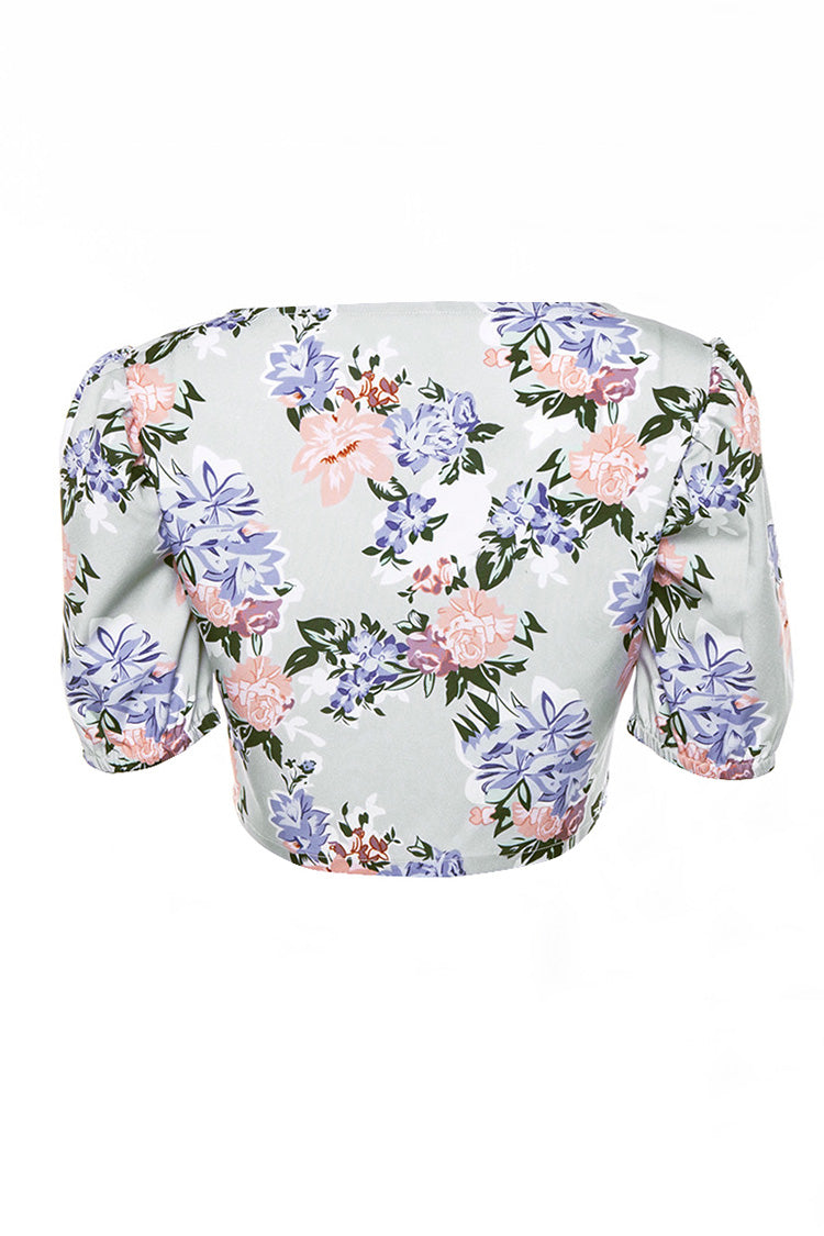 Floral Hook-and-Eye Puff Sleeve Crop Top