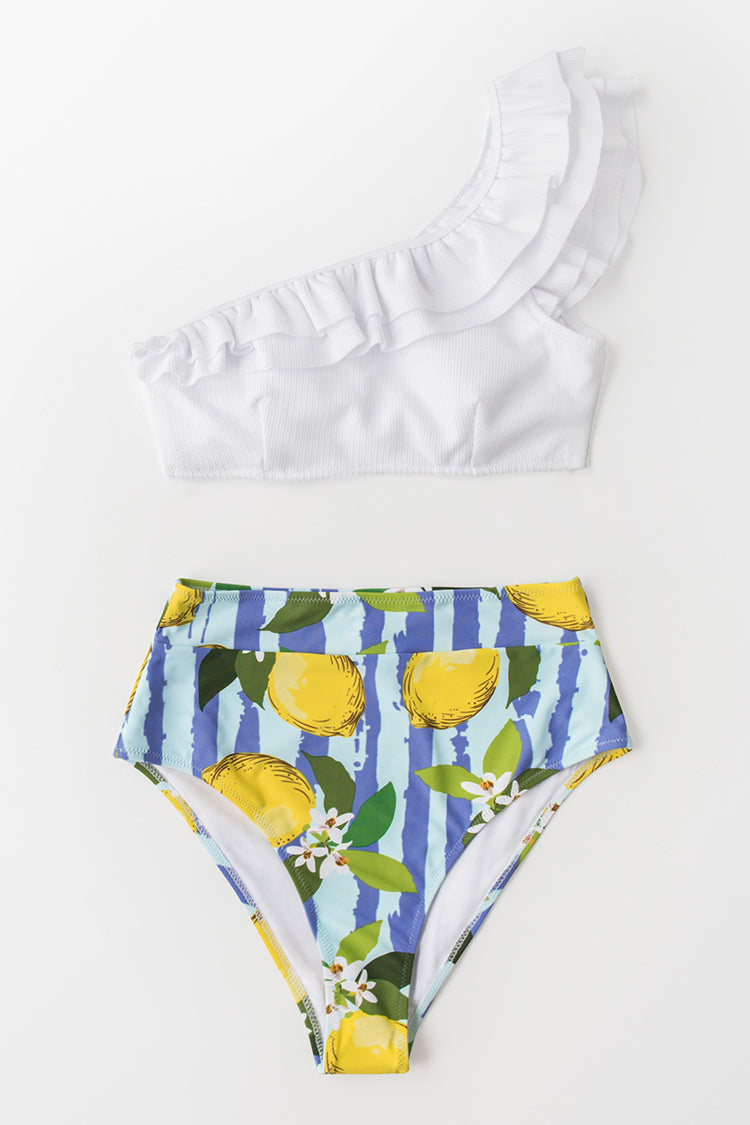 White and Lemon One Shoulder Bikini