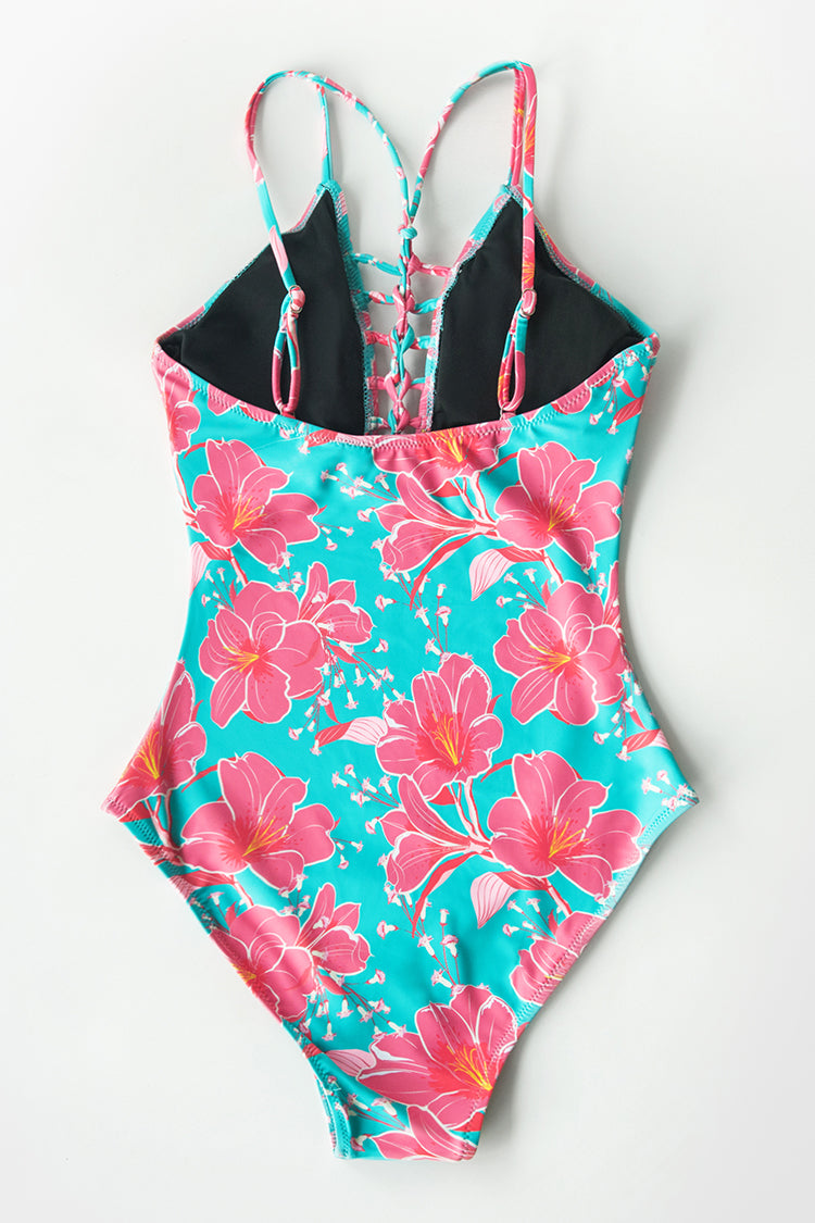 Bright Hibiscus Print One-Piece Swimsuit