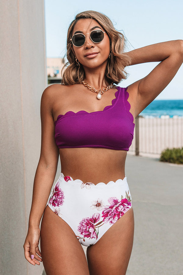 Purple And Floral One Shoulder Scalloped Bikini