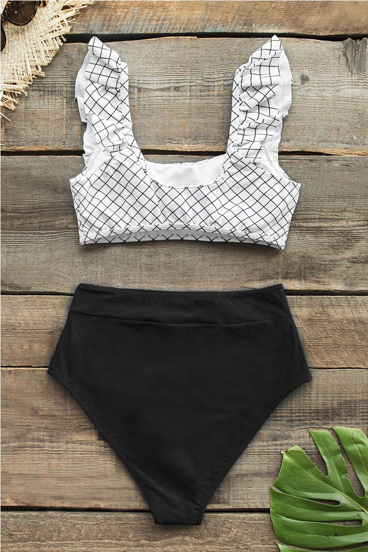 Black and White Windowpane Plaid High Waisted Bikini