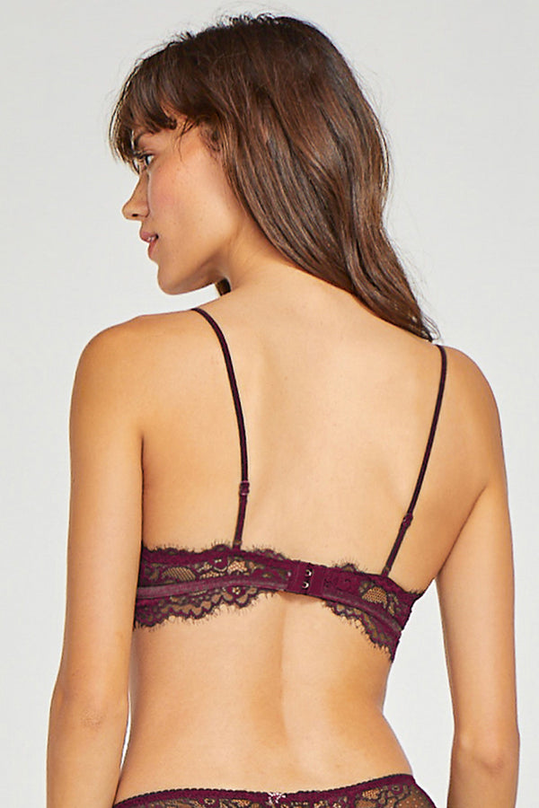 Wine Red Lace Trim Velvet Bralette