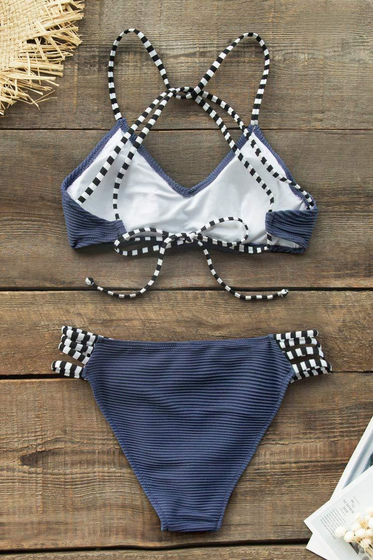 Navy Blue Ribbed and Strappy Bikini