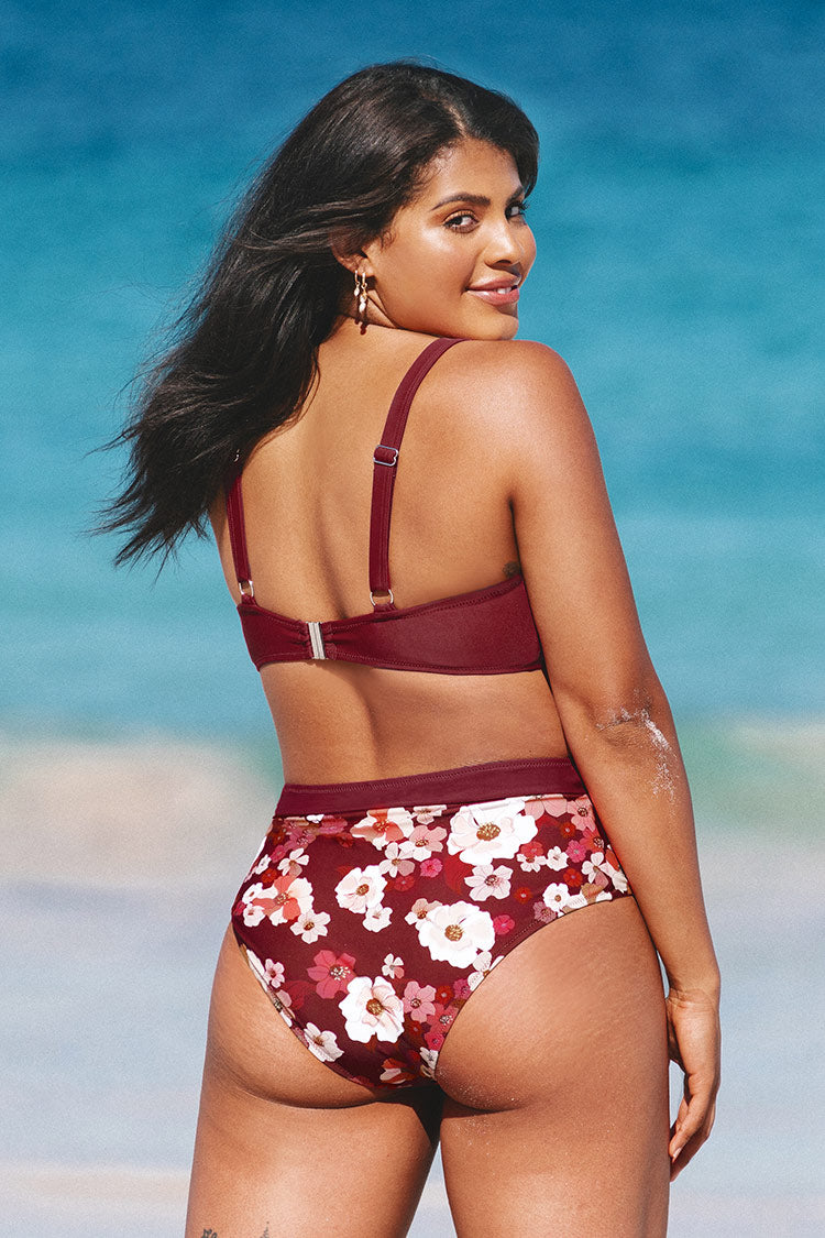 Quinn Floral High Waisted Plus Size Bikini Bottom