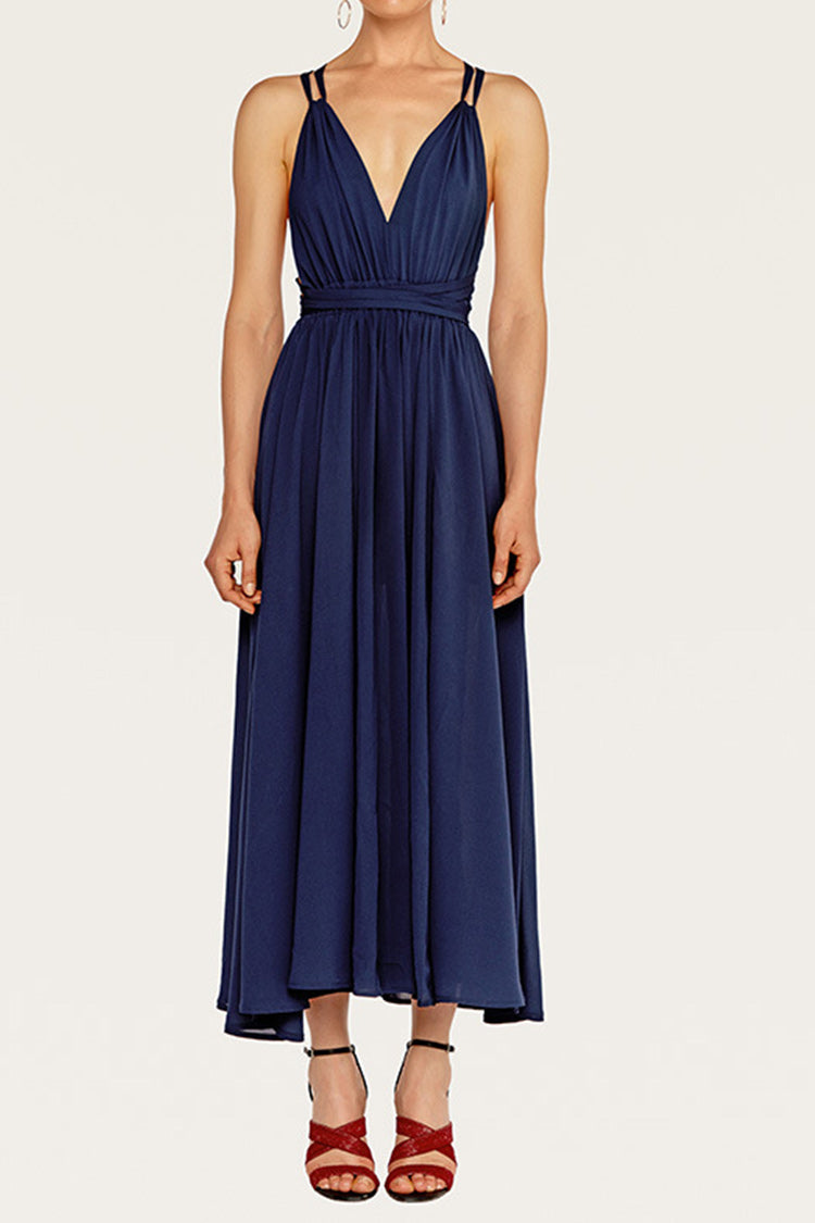 Blue Backless Dinner Party Dress