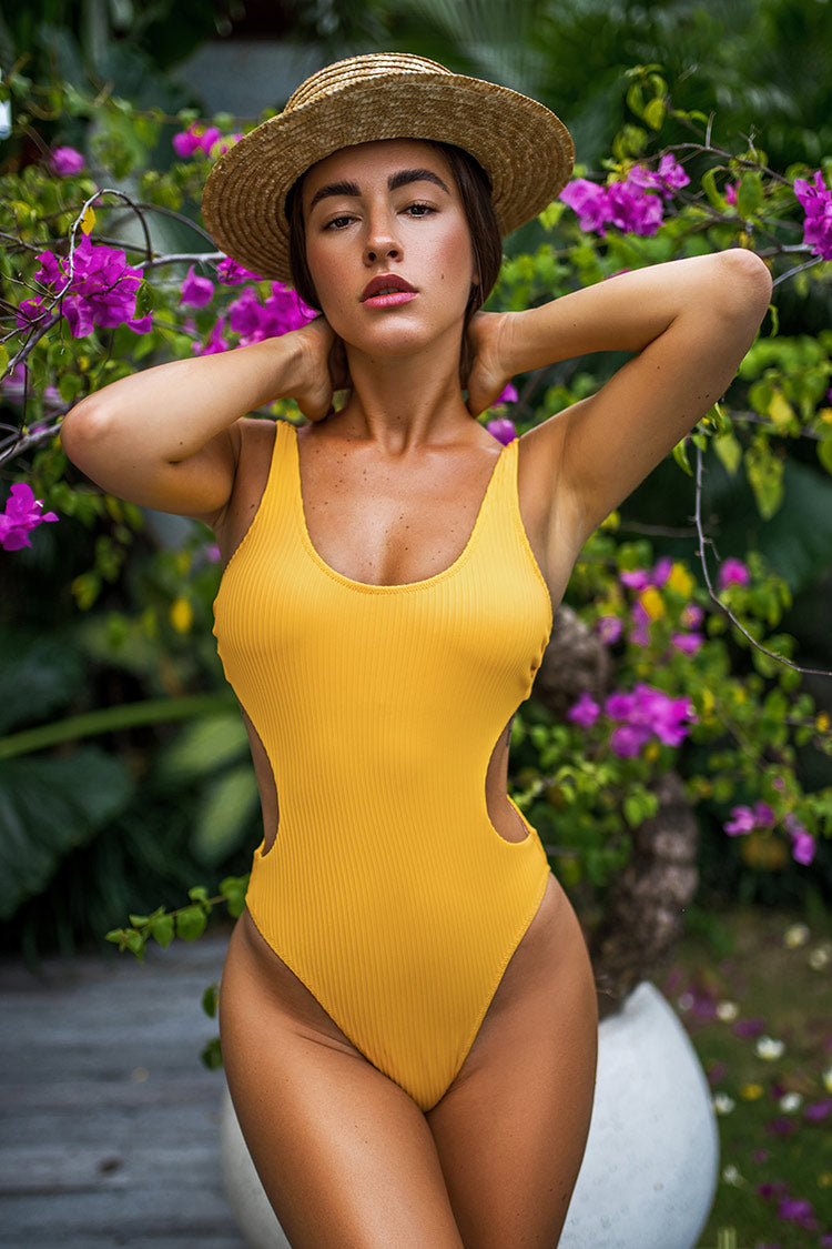 Ribbed Yellow Cut Out Scoop Back One Piece Swimsuit