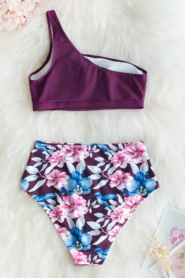 Floral Plum One-Shoulder High-Waisted Bikini