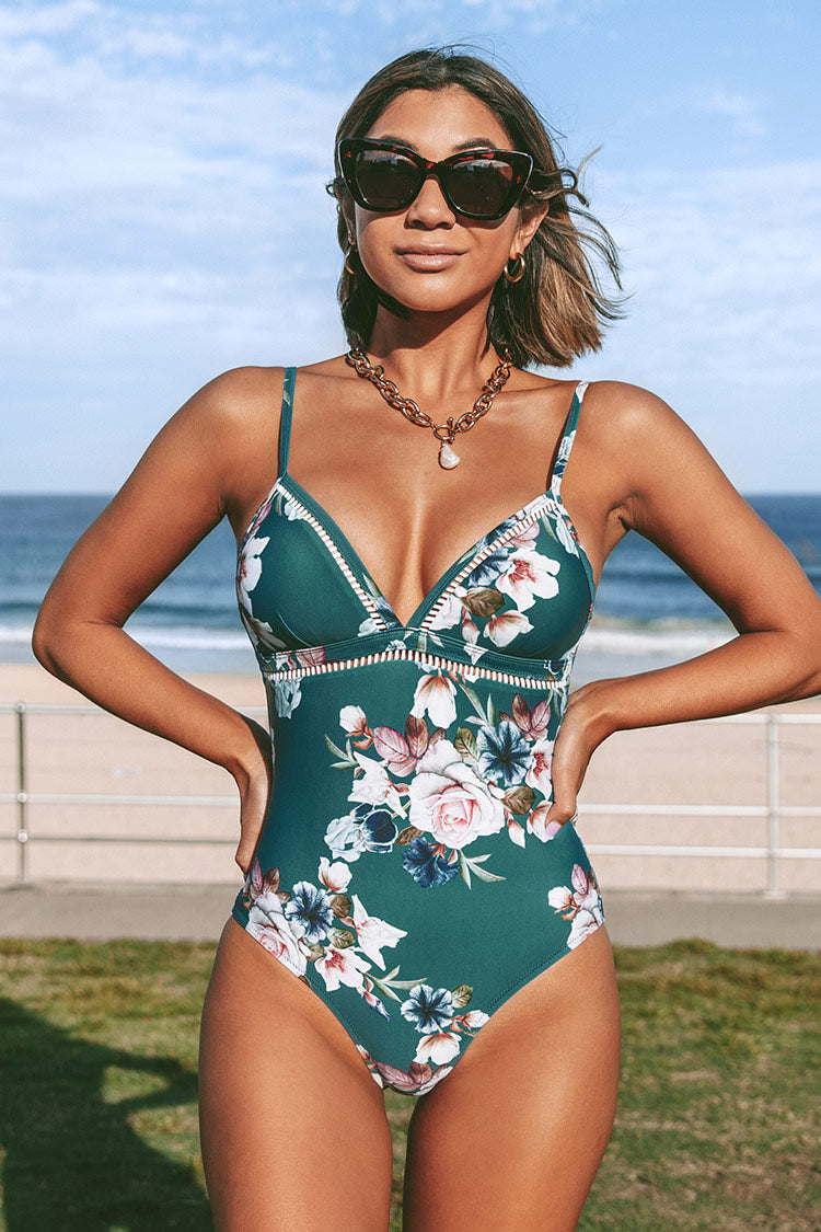 Green Floral Lace Up One Piece Swimsuit