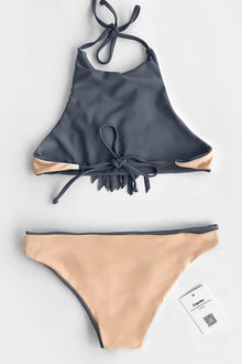 Cupshe Hit The Road Tassel Halter Bikini Set
