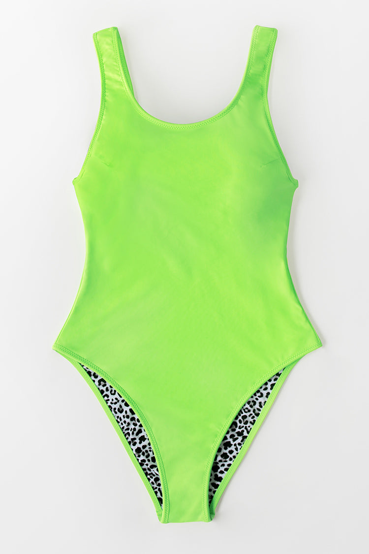 Leopard and Neon Trimmed Reversible One Piece Swimsuit