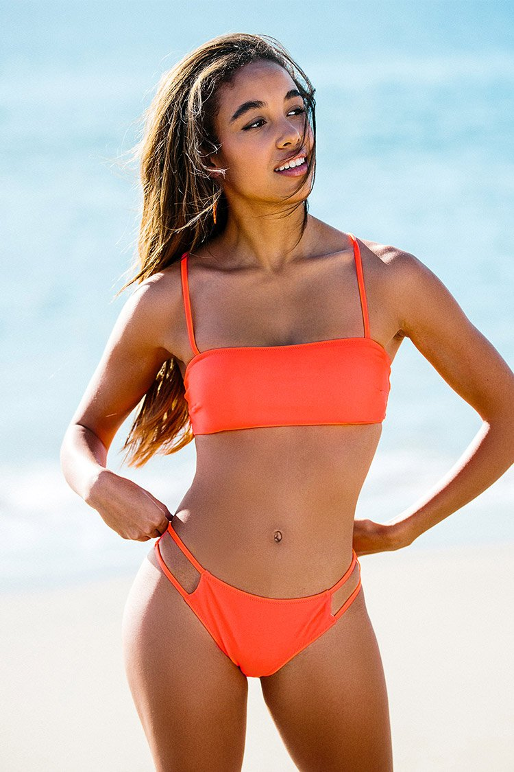 Orange Lace Up Bandeau Bikini