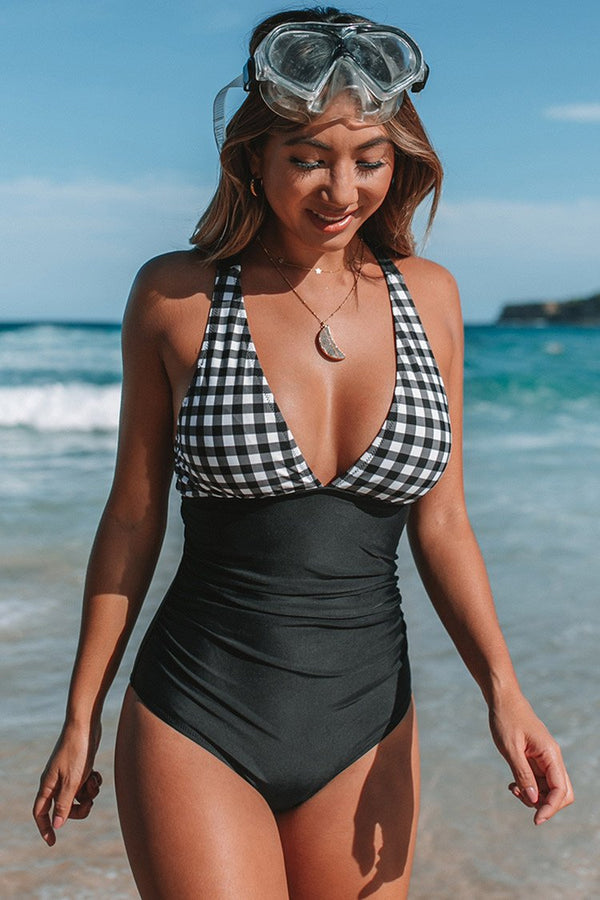 Black and White Gingham Ruched One Piece Swimsuit